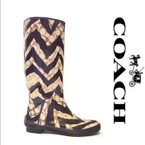 COACH Tall Zebra Monogram Rain Boots Size 7